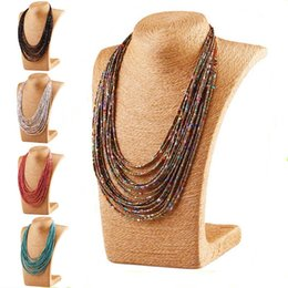 Wholesale Necklaces Choker Style - 6 Colors Bohemia Style Multilayer Resin Bead Necklace Chokers Statement Necklace Wrap Fashion Jewelry for Women Gift Drop Shipping