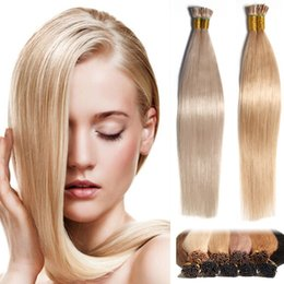 Wholesale Blonde Tip Colors - Straight Brazilian I tip Human Hair Extensions Multi Colors Blonde 613# Crochet Pre bonded Hair Extensions Remy Human Virgin Hair Piece