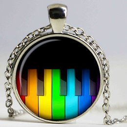 Wholesale Wholesale Piano Crystal - Rainbow Piano keys Necklaces Pendants Rainbow Piano Keys Pendant Choker Necklace for Women Men Mod jewelry