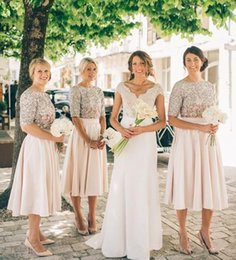 Wholesale Sequin Half Sleeves Tops - Vintage two pieces bridesmaid dresses sparkling sequined top half sleeves maid of honor dress tea length satin a line wedding party gowns