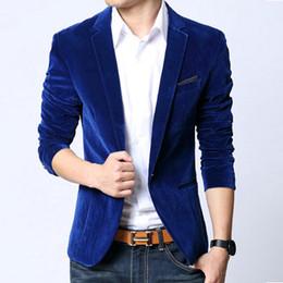 Wholesale Fitting Suit Jacket - Wholesale- Mens Blazer Slim Fit Suit Jacket Black Navy Blue Welvet 2016 Spring Autumn Outwear Coat Suits For Men