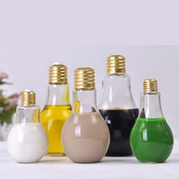 Wholesale Plastic Tea Light Cups - New Creative 200ml Light Bulb Bottle Plastic Beverage Milky Tea Fruit Juice Coffee Drink Cup Lamp Bulb Drinkware