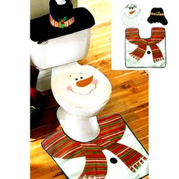 Wholesale Cloth Covered Boxes - Wholesale-New 4pcs XMas Home Decoration Lovely Snowman Toilet Seat Cover Rug Mat Christmas Bathroom Pad Cusion Tissue Box Holder Set 30%