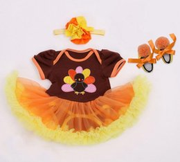 Wholesale Turkey Clothes Wholesalers - baby thanksgiving day clothes baby girl romper set kids ruffle tutu rompers + headbands + toddler shoes turkey outfit jumpsuit baby bodysuit