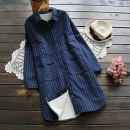 Wholesale Striped Pocket Shirt - Winter Shirts for women Striped Long sleeve With velvet Women Blouses Gray and Blue color