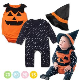 Wholesale Wizard Hat Wholesale - Halloween children Clothes Special Occasions 1-7 years old Pumpkin Stars Jumpsuits Wizard Hat Three Piece Suit Free Shipping