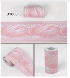 Falda de pared online-Europa Adhsive Pvc Wallpaper Border Decoración para el hogar Impermeable Cocina Borde de la pared Baño Pared de la cintura Etiqueta de la pared Fronteras
