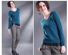 Wholesale New Cashmere Sweater Xl Woman - 2017 autumn and winter fashion new European and American V-neck knit sweater sets of long-sleeved sweater Slim cashmere sweater women fine