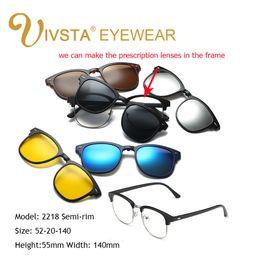 Wholesale Custom Magnetic - IVSTA 2017 Magnet Sunglasses Clip Magnetic Mirrored Clip on sunglasses Men Flip Polarized Myopia Custom Prescription Optical 2208