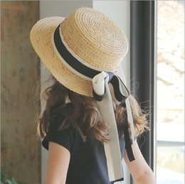 Wholesale Korean Summer Kids Hats - New Fashion Girls straw sunhats Cute Butterfly ribbon Kids sunhats Korean beach Trendy Sun Shade Children caps C2011