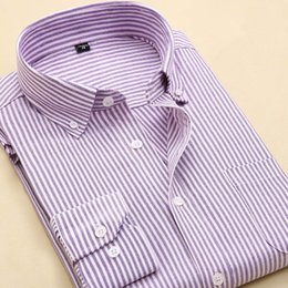 Wholesale Wholesale Plaid Shirts For Men - Wholesale- New Arrival High Quality Oxford Non-Iron Men's Brand Dress Shirts Men Striped Plaid Business Casual Shirt Formal Shirt For Men