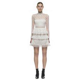 Wholesale Portrait Female - Wholesale- High-end custom portrait female clothing 2017 autumn winter fashion runway style water soluble lace long sleeve dress