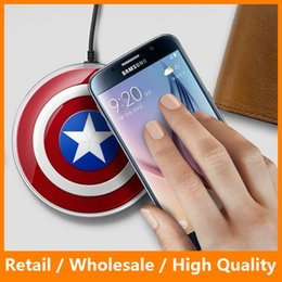 Wholesale america pack - QI Standard Wireless Charger Pad for Samsung Galaxy s6 QI Wireless Charging Pad Avengers Captain America Style with Retail Box Packing