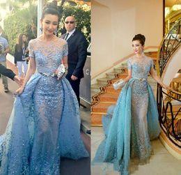 Wholesale Zuhair Murad Bandage Dress - 2017 Light Sky Blue Zuhair Murad Evening Dresses Sheer Neck Short Sleeves Appliques Tulle Over Skirt Celebrity Dresses Formal Prom Dresses