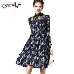 Wholesale Wholesale Spring Summer Decor - Wholesale- New Chiffon Dress Autumn Summer Women Dresses Clothing Sweet Fashion Long Sleeve Floral Print Lace Decor Vestidos Plus Size S-XL