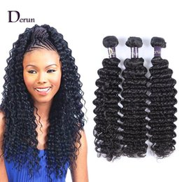 Wholesale Deep Wave Perm - Derun Hair Super Sale!!!Mix 3pcs 10-30inches Brazilian Deep Wave Human Hair Weft Extension Natural Color Hair Weave Free Shipping