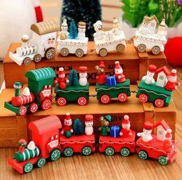 Wholesale Mini Wooden Toy Train - Wooden Christmas Xmas Train Decoration Decor Gift Mini Christmas Train Wooden Train Model Vehicle Toys for Children 1041