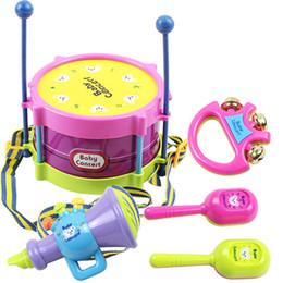 Wholesale Wholesale Children Rattle Drum - Wholesale- 5 pcs Set Hot Baby Toys Hand Drum Beat Rattles Educational Kids Toys Children Rattle for Newborn Baby Gift Wholesale