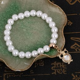 Wholesale Charm Bracelets Low Price - Wholesale- Cheap Simulated pearl Beaded Bracelets Elastic Owl Charm Bracelet Faux Pearl Adjustable Bracelet Low Price