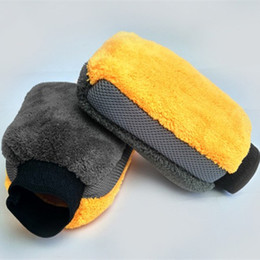 Wholesale Double Sided Microfiber - 2PCS Double Side Polyester + Polyamide Plush Car Wash Glove Terry Microfiber Dust Remove Car Detailing Cleaning Buffing Mitt Care