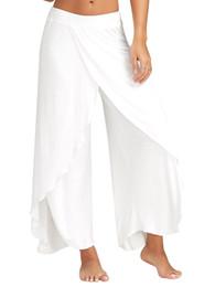 Wholesale Wide Leg Plus Size Capris - Sexy High Split Mid Waist Wide Leg Flowy Pants Women 2017 Female Trousers Casual Summer Beach Long Loose Harem Pants Plus Size 5XL