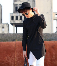 Wholesale Regular Hair - Wholesale- 2016 New Male Medium and long shirt hair stylist fashion clothing men's irregular personality Black,White Slim long-sleeve shirt
