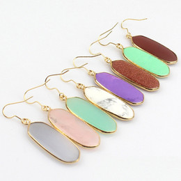 Wholesale Oval Gemstone White - Natural Gemstone Crystal Gold Plated Earrings Fashion Kendra Style Dangle Eardrop Simple Elegant Oval Earring For Women
