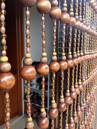 Wholesale Curtain Pc - Wholesale-10 PCS transport gourd shape wood bead Cortina home decoration ornaments Lucky crystal Curtain cut off flavor (length 2M