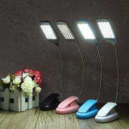 Wholesale clip flexible desk lamp - Flexible 28 LED Portable Adjustable Mini Study Reading Light USB Battery USB Clip-on Fixture Desk Table Bed Computer Lamp
