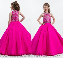 Wholesale Girls Pageant Sparkly Dresses - 2017 Hot Pink Sparkly Princess Ball Gown Girl's Pageant Dresses for Teens Floor Length Kids Formal Wear Prom Dresses with Beading Rhinestone