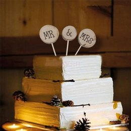 Wholesale Cake Inserts - Romantic Mr & Mrs Wedding Cake Inserted Toppers Exquisite Rustic Wedding Wood Decorations Cake Toppers Supplies For Event Party
