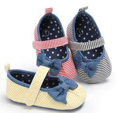 Wholesale Stripe Bow Shoes - 2017 Children stripe floor shoes,0-18 M baby toddler shoes,autumn soft newborn shoes,bow girls shoes!12pairs 24pcs.SX