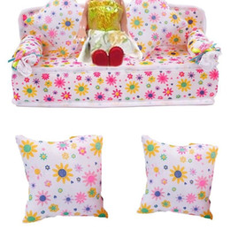 Wholesale Doll House Sofa - Mini Furniture Flower Sofa Couch +2 Cushions For Barbie Doll House Accessories