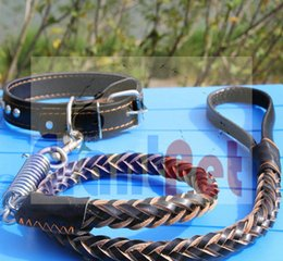 Wholesale Leather Dog Collar Studs - Favourite Products 1 Dog leather Leash Jegging Leash 16 mm hand weave 120m length with collar nice quality cusotm leather with studs