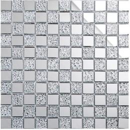 Wholesale Glass Mirror Mosaic Tiles - Shiny glass mosaic tiles, 12x12 home decor tiles, silver white mirror surface glass mosaics, bathroom kitchen living room mosaic tile,LSMR01