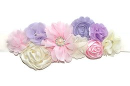 Wholesale Pregnancy Girls - Pink & Purple Pregnancy Belt Handmade Flower Sash Chiffon Flower Maternity Clothes   Accessories Photo Props Flowergirl Accessory
