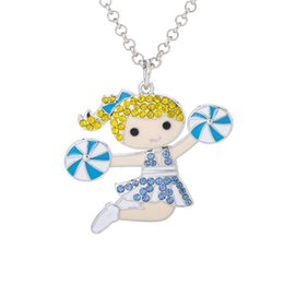 Wholesale Cheerleading Wholesalers - New Cute Cheer aerobics Cheerleading Girl Dancing Happy Girl Colorful Crystal Embedded Pendant Link Chain Necklace Best Gifts For Grils