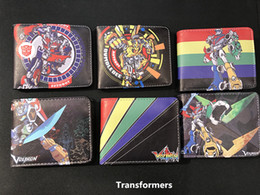 Wholesale Cool Korean Boy - Prints Japan Cartoon Voltron Transformers Robot Cool Mens Wallets portefeuille homme cuir Coins Pockets Zipper Money Balsos Boy