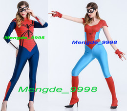 Wholesale Sexy Spiderman Lycra Costume Xl - New 2 Style Fancy Women Spider Costumes Lycra Spandex Spiderman Hero Suit Costumes Sexy Women Spider Catsuit Costumes Halloween Suit M170