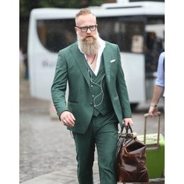 Chaleco verde cruzado online-Custom Made Green Double Breasted Men Suit Casual Slim Fit Tuxedo 3 piezas Trajes de novio de boda (chaqueta + pantalones + chaleco) G576