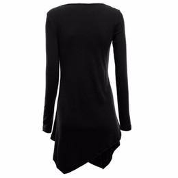 Wholesale Long Sleeve Tunics Wholesale - Wholesale-Stylish Women Hem Line Long Sleeve Lightweight Knit Tunic Tops T-shirts New G20 DF1