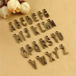 Wholesale Wholesale Metal Jewelry Initials - DIY accessories bronze alloy 26 English letters charms, vintage alphabet charm beads, metal initial charm pendants antique jewelry wholesale