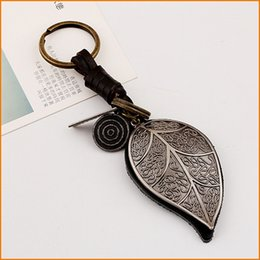 Wholesale Big Cool Cars - Retro Big leaf Bag Pendant Keychains, Women Men Leather Key chain, Alloy Punk Key Rings Jewelry for Cool Gift