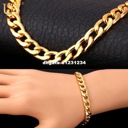 Wholesale Thick Gold Bracelets - U7 Bracelet Men Jewelry Wholesale Trendy Gold Plated 22 CM 8 MM Thick Cuban Link Chain Bracelets H385