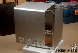 Wholesale Mini Itx Pc Cases - Power Supply PC-Q01 black silver aluminum ITX mini case used all items will test before shipping 100% tested perfect quality