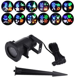 Wholesale Metal Outdoor Lights - Hot New Multi-color Moving Sparkling LED Snowflake Landscape Laser Projector Wall Lamp Include 12 PCS Switchable Pattern