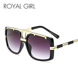 Wholesale Trendy Black Sunglasses - Wholesale- ROYAL GIRL Trendy Metal Square Sunglasses Men Luxury Brand Vintage Women Designer Sun Glasses Gold Black ss110