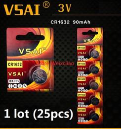 Wholesale Battery Cr1632 - 25pcs 1 lot CR1632 3V lithium li ion Button Cell Battery CR 1632 3 Volt li-ion coin batteries VSAI Free Shipping