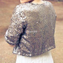 Wholesale Shrugs Women Jackets - Luxury Shiny Silver Grey Half Sleeve Sequined Bridal Jackets 2017 Shrug Formal Women Country Wedding Coats Boleros Wedding Accessories