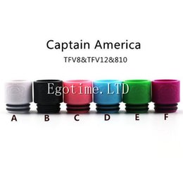 Wholesale america tips - 2017 Colorful Newest Captain America 810 tfv8 TFV12 drip tips Wide bore Mouthpiece for Electronic Cigarette Mouthpiece Tank